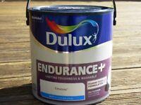 2 x 2.5 litre tins of 'Dulux Endurance+' matt emulsion in 'Timeless' unopened