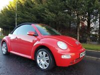 FEBRUARY 2004 VOLKSWAGEN BEETLE CONVERTIBLE 1.6PETROL BRIGHT/RED GREAT CONDITION POWER/HOOD MOT JUNE