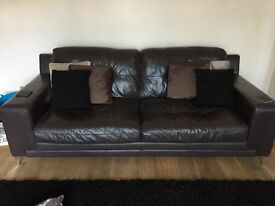 DFS brown leather 2 and 3 seat sofas