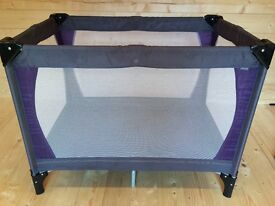 John Lewis Travel Cot with carry case (0-18 months, Purple/Grey)