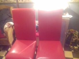Two Red Faux Leather Dining Chairs