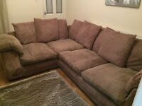 Large mocca corner sofa, seats up to 6. Minor, repairable issues e.g. Faulty zip. £50 collection