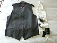 Wedding Waistcoat, Cravet & Pin, His & Hers Buttonholes+ Pins , Father of the bride Cufflinks.