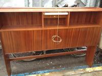 Vintage retro teak wooden mid century double bed headboard bedside cabinet 60s 70s