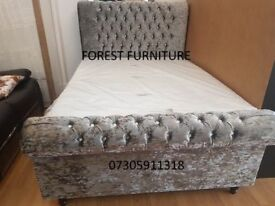 BRAND NEW Crushed Velvet Fabric Double / Kingsize Chesterfield Sleigh Bed Frame & Mattress of Choice