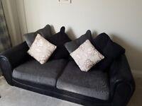 3 Seater Black & Grey Sofa