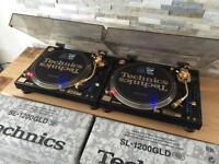 Technics SL 1200 GLD Pair – Mint Condition – Fully Boxed – Pair – Ortofon Gold - Lids