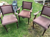 3 vintage detailed chairs - would be lovely upcycled