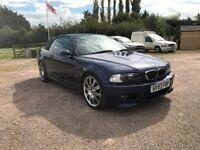 BMW E46 M3 Blue 3.2 Petrol Manual Convertible Stunning Low Mileage Car FSH