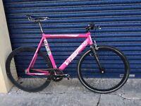 Pink fixed gear bike - VISP TRX 750 (fixie, track bike, aluminium, carbon fibre)