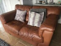 2 brown leather sofas- FREE IF YOU TAKE AWAY TODAY!