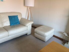 DFS leather sofa set - 2 seater, 3 seater and footstool in cream from pet free, non smoking house