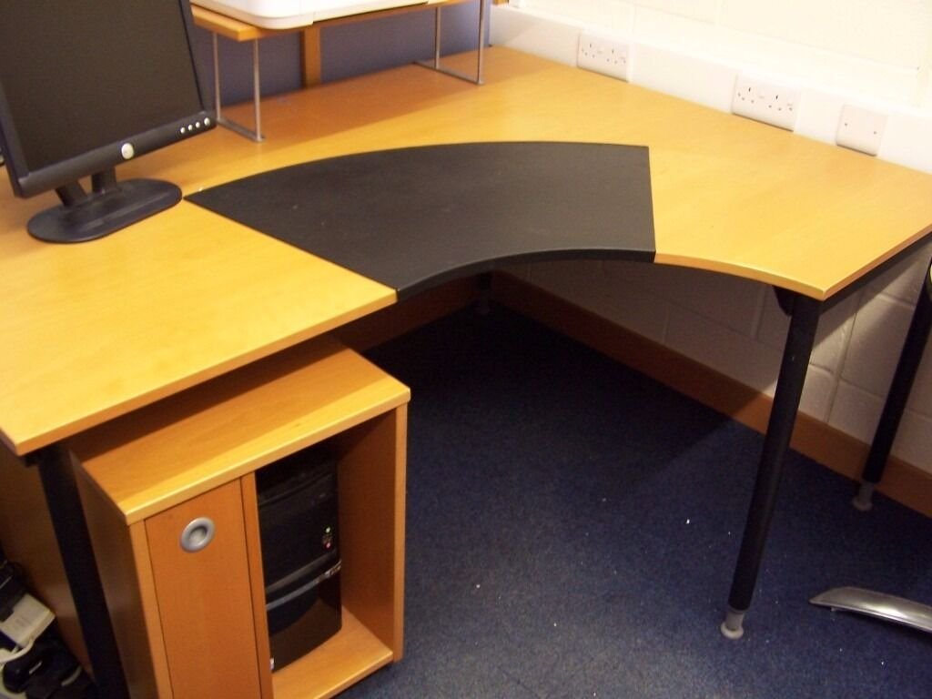 Light Coloured Wooden Curved Office Table With Rectangle Extension Wheeled Computer Housing Unit