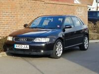 Audi A3 1.8 Turbo Sport (2003/03 Reg) + 5 DOOR + PANTHER BLACK + LEATHER + TURBO + HIGH SPEC +