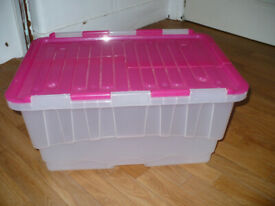 House clearance! Transparent plastic storage/ toy box with flap lid. Hardly used.
