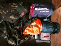 Army bergen with camping hiking gear joblot