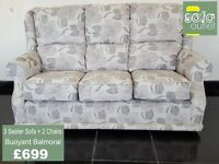 Designer Buoyant Balmoral fabric 3 seater + 2 chairs £699