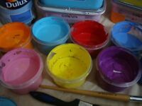 Large quantity of high quality pigment multi purpose paints for mixed media, murals etc.