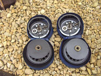 2 x Vintage Shakespeare Speedex 2864 Fly fishing muliplier reels + 2 x Hardy reel cases