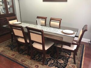 9 Pcs. Dining Table set includes Hutch and Buffet