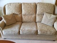 Excellent condition sofa , 2 recliner chairs and footstool