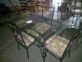 Glass dining table with 4 dining chairs