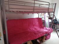 Bunk Beds (metal) with a funky pink futon (double)