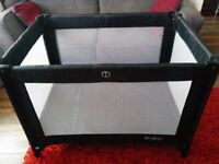 Redkite Sleep Tight Travel Cot in black, excellent condition