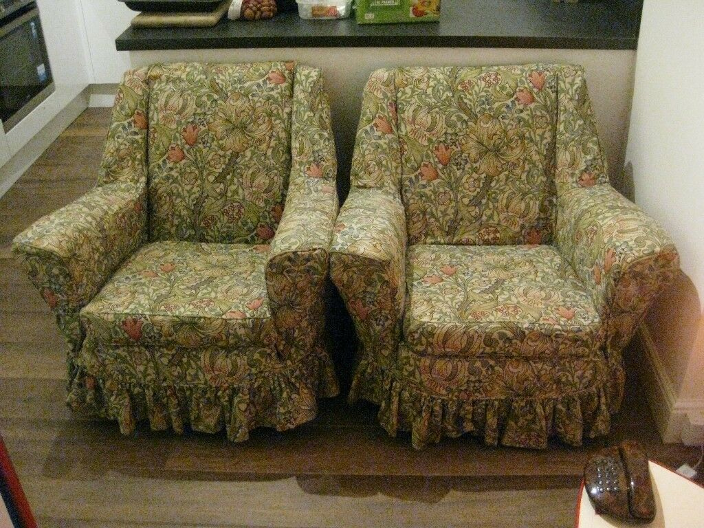 Pair Vintage 50s 60s Armchairs With William Morris Golden Lily Covers Conservatory