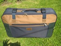 Medium Nowi Navy Blue and Tan Fabric Suitcase