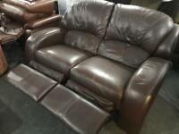 Brown leather 2 seater recliner sofa