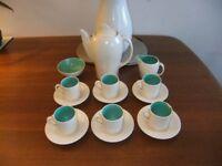 Vintage Art Deco Susie Copper Coffee Set Crown Works Burslem