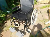 SELF PROPEL FOLDING WHEELCHAIR VERY GOOD CON HAS AMPLE SEAT WITH CUSHION £120 ono