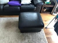 Leather footstool with storage