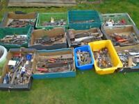 14 buckets and boxes of old and modern tools