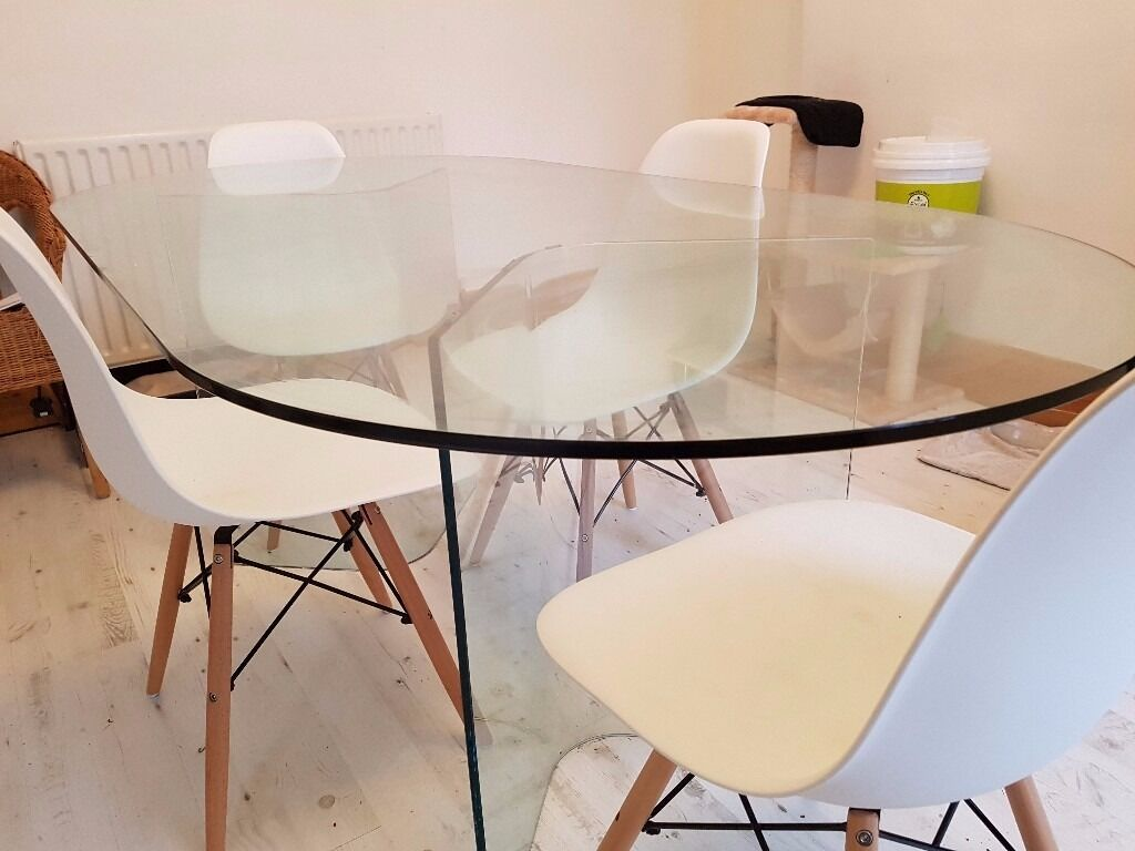 Glass Design Dining Table 4 Eames Dsw Style White Chairs