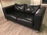 2 x Matching Black Leather Sofas (Chrome feet)