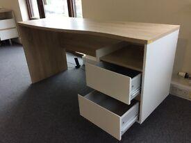 Beech/White 2 drawer desk, newly assembled, fab modern design, never used!!