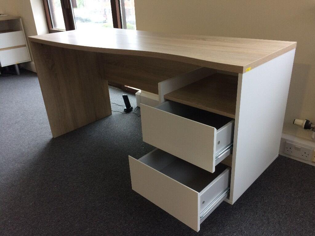 Beech/White 2 Drawer Desk, Newly Assembled, Fab Modern