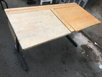 old vintage double school lift up desk table