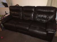 DFS 3-seater leather sofa recliner, dark brown.