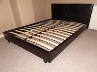 150 cm Width Double Leather Bed frame with Mattress (NOT used)