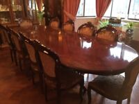 Large dining table (L)290cm (W) 114cm (H) 78cm and 10 chairs