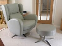 Fama Leather Recliner & Stool