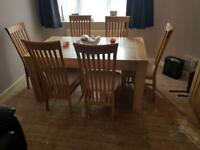 Light Oak Dining Table & Matching Cabinet