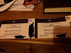 2 standing tickets for Drake at the 02 Arena