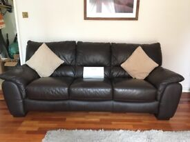 Brown Leather 3 seater & 2 seater sofa