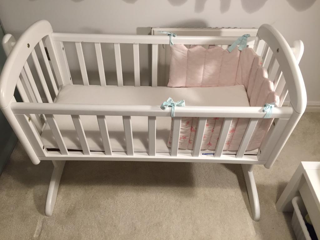 Baby cribs john lewis - John Lewis Anna Swinging Crib White Baby Cot Bed With Matress In Cambridge Cambridgeshire Gumtree