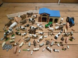 Huge collection of farm animals with tractor and farm building