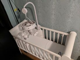 ALMOST NEW sleigh styled crib bundle set